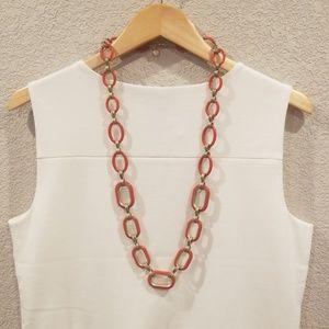 Talbots Retro Orange and Gold Link Necklace